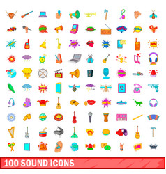 100 sound icons set cartoon style vector