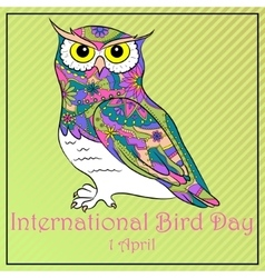 Bird day with owl vector image