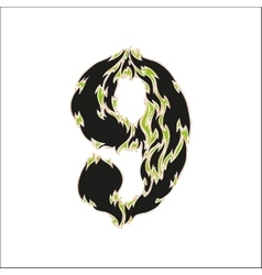 Fiery font black and green number 9 on white vector