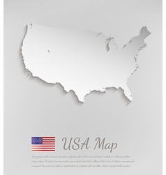Usa map white card paper 3d vector