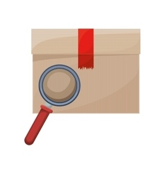 Sealed box with magnifying glass vector