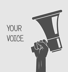 Hand holding megaphone - voice and opinion vector image