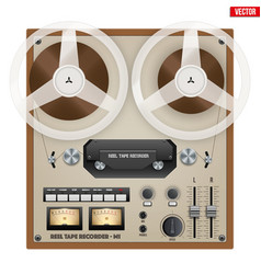Vintage analog reel tape recorder vector