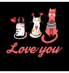 greeting card with cats in love vector image