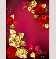 Greeting card with red jewelry roses vector