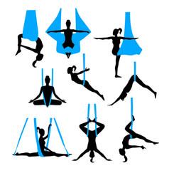 Aero yoga silhouettes black and white icons vector