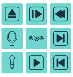 Set of 9 audio icons includes skip song extract vector