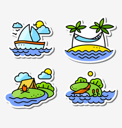 Summer activity icons set in simply thin style vector