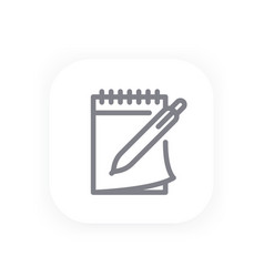 notebook and pen icon in line style vector image