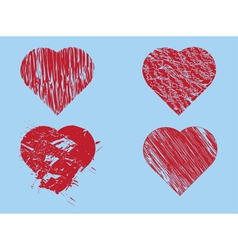Hand drawn red hearts vector