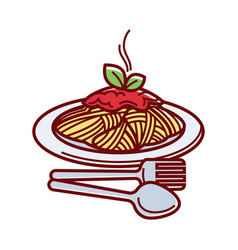 Hot spaghetti with fresh tomato sauce on plate vector