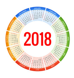 2018 circle calendar print template week starts vector