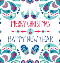 Christmas background with cute floral ornament and vector