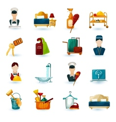 Hotel maid icons vector