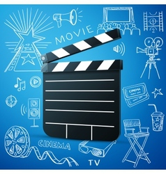 Black cinema clapper and hand draw icon vector