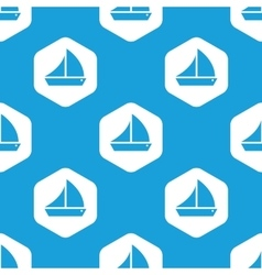 Sailing ship hexagon pattern vector