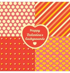 Valentine day four pattern set cards backgrounds vector