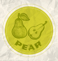 Pear vintage paper vector