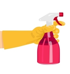 Hand holding a pink spray bottle vector