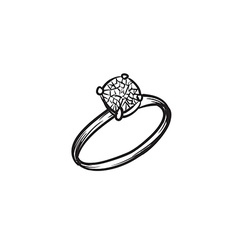 Diamond ring hand drawn vector