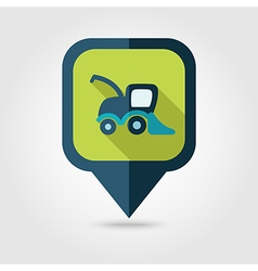 Combine harvester flat pin map icon map pointer vector