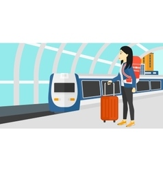Woman with suitcase on wheels and briefcase vector