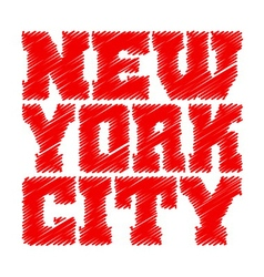 T shirt typography graphics new york red drawn vector