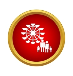 Ferris wheel and family icon simple style vector