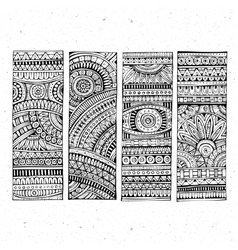 Abstract hand drawn ethnic banners vector image vector image