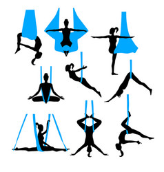 aero yoga silhouettes black and white icons vector image vector image