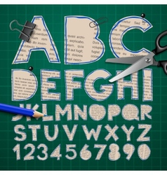 Alphabet and numbers paper craft design cut out vector image vector image