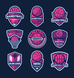 basketball league isolated label set vector image vector image