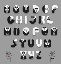 Black and white alphabet with ties tuxedo style vector