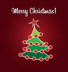 Christmas card simple flat tree vector