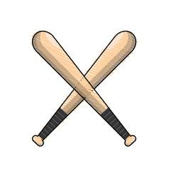 Color baseball bats to play icon vector
