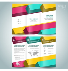 colored 3d line squares brochure design template vector image vector image
