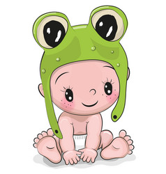 Cute cartoon baby boy in a frog hat vector