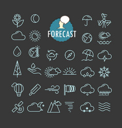 Different forecast icons collection web and vector