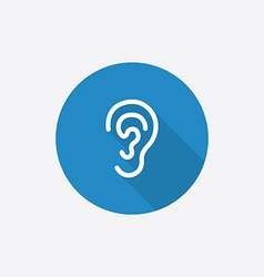 Ear flat blue simple icon with long shadow vector