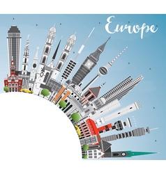 Europe skyline silhouette vector