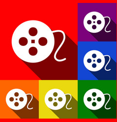 Film circular sign set of icons with flat vector