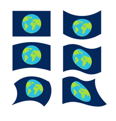 Flag planet earth set official national symbol vector