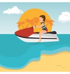 Girl jet ski tropical beach vacation vector