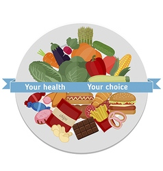 Healthy and unhealthy food concept vector