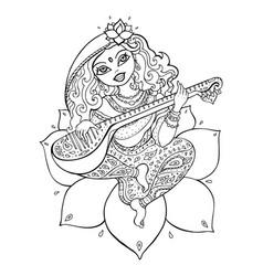 Hindu goddess saraswati vector