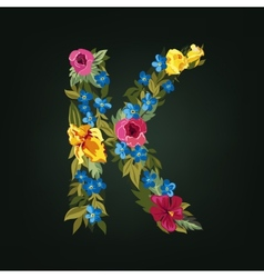 K letter flower capital alphabet colorful font vector