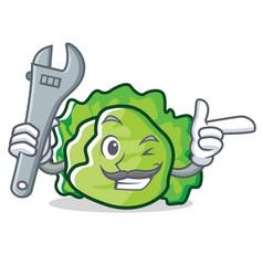 Mechanic lettuce character mascot style vector