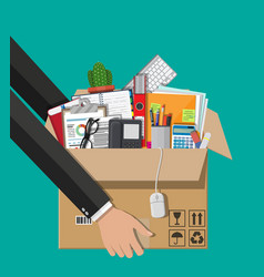 Moving to new office cardboard box in hand vector