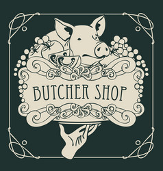 poster for the butcher shop with a piglet on tray vector image vector image