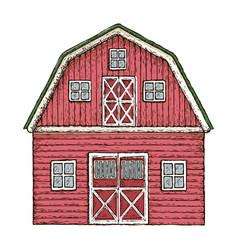 Red wooden farming barn vector